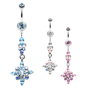 The Icicle Stack Belly Button Ring - Dangling Belly Ring. Navel Rings Australia.
