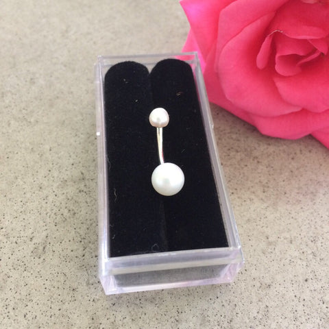 14K Solid Gold Cultured Pearl Belly Piercing Rings - Basic Curved Barbell. Navel Rings Australia.
