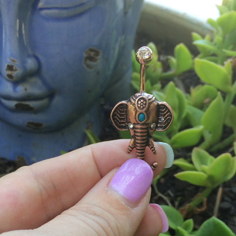Golden Turquoise Ganesha Navel Ring - Fixed (non-dangle) Belly Bar. Navel Rings Australia.