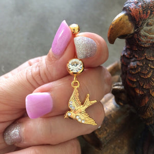 Golden Tweet Tweet Belly Dangle - Dangling Belly Ring. Navel Rings Australia.
