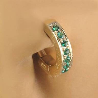 TummyToys® 14k Solid Yellow Gold Emerald Paved Sleeper - TummyToys® Patented Clasp. Navel Rings Australia.