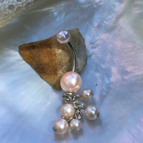 Sizeable Pearl Acrylic Dangle Belly Rings - Dangling Belly Ring. Navel Rings Australia.