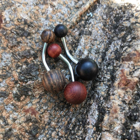 Organic Wood Classique Belly Rings - Basic Curved Barbell. Navel Rings Australia.