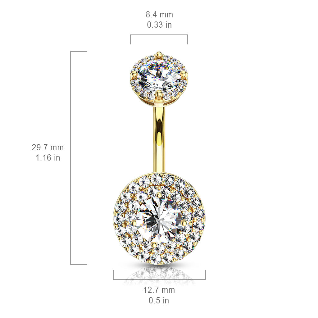 Fixed (non-dangle) Belly Bar. Belly Rings Australia. Crowned Jojo Halo Belly Bar