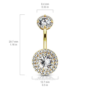 Crowned Jojo Halo Belly Bar - Fixed (non-dangle) Belly Bar. Navel Rings Australia.
