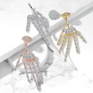 Crowned Ice Chandelier Belly Bar - Dangling Belly Ring. Navel Rings Australia.
