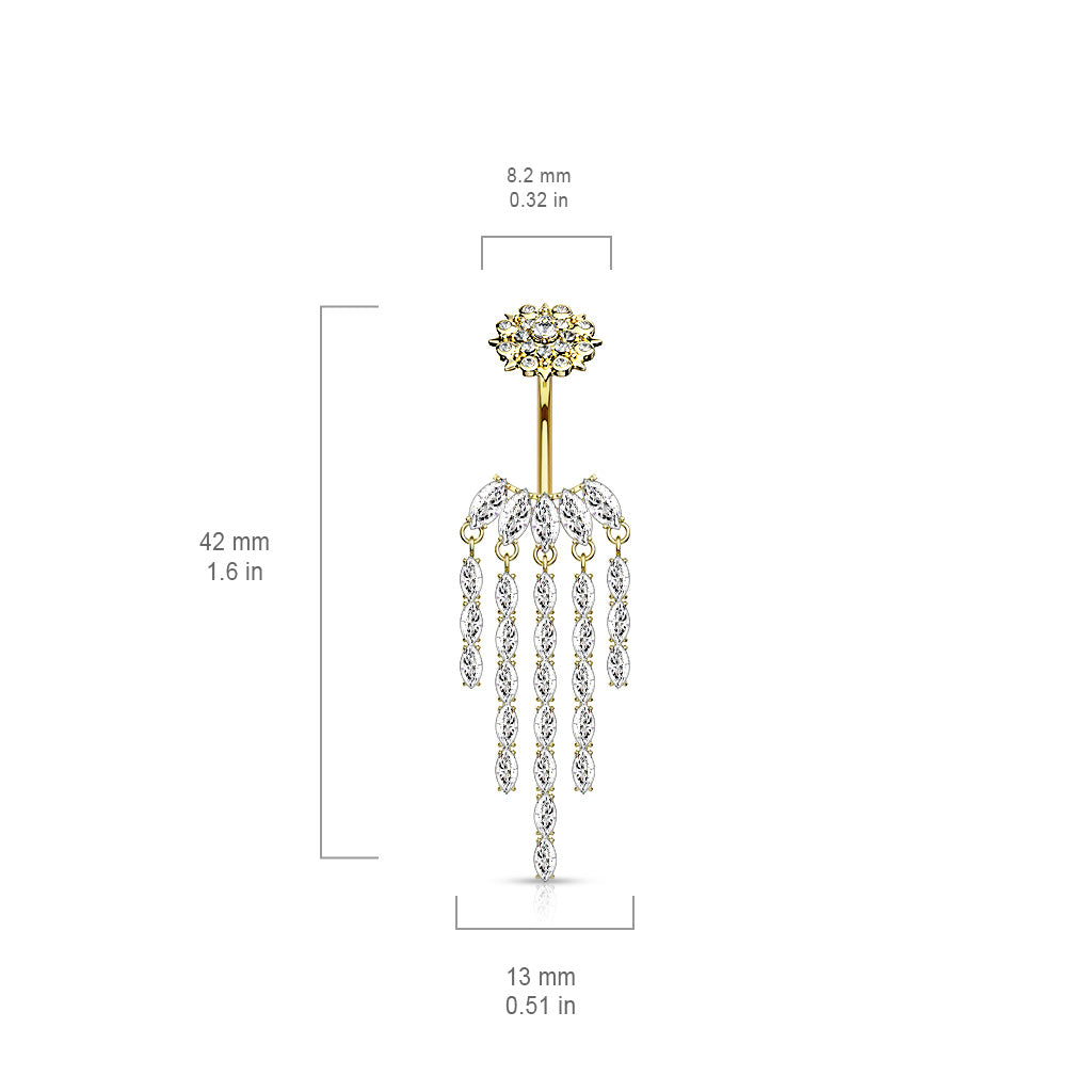 Dangling Belly Ring. Belly Rings Australia. Crowned Ice Chandelier Belly Bar in Rose Gold