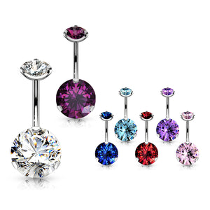 Internally Threaded Prong Set Belly Piercing - Fixed (non-dangle) Belly Bar. Navel Rings Australia.