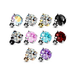 14g Prong Gem Balls for INTERNALLY THREADED Belly Rings