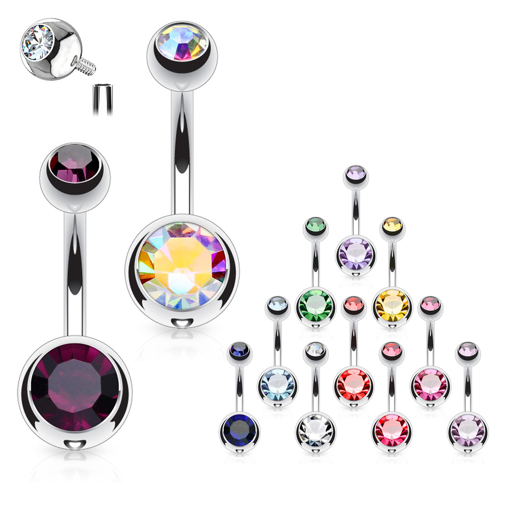 Classique Internally Threaded Gem Belly Rings - Basic Curved Barbell. Navel Rings Australia.
