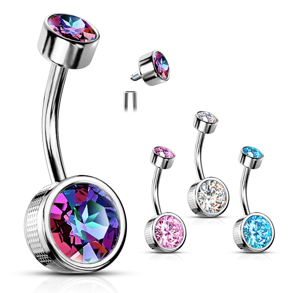 Flat Disc Internally Threaded Gem Belly Bar - Basic Curved Barbell. Navel Rings Australia.