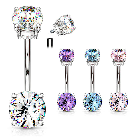 Basic Curved Barbell. Quality Belly Rings. Classic Internally Threaded Gem Belly Bar