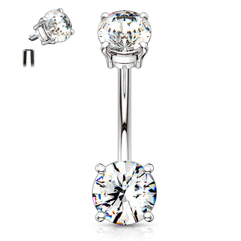 Crystal Classic Internally Threaded Gem Belly Bar