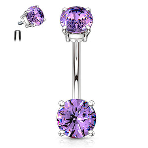 Classic Internally Threaded Gem Belly Bar - Basic Curved Barbell. Navel Rings Australia.