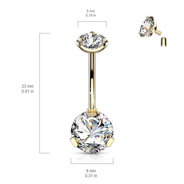 9cce7314725 Internally Threaded Prong Set Belly Bar with Rose Gold Plating