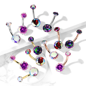 Milky Way Belly Bars Rose in Rose Gold - Fixed (non-dangle) Belly Bar. Navel Rings Australia.