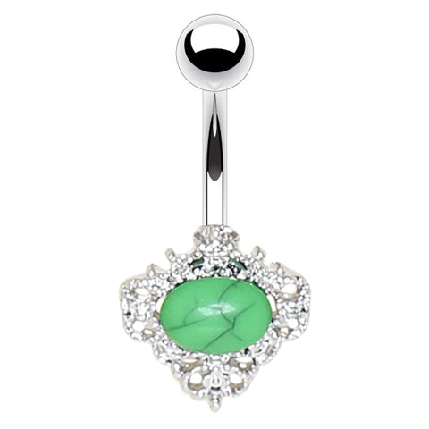 Fixed (non-dangle) Belly Bar. High End Belly Rings. Jadeite Jewel Belly Rings