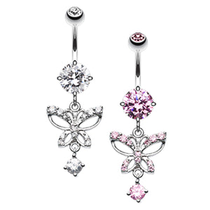 Runaway Glamour Butterfly Belly Bar - Dangling Belly Ring. Navel Rings Australia.
