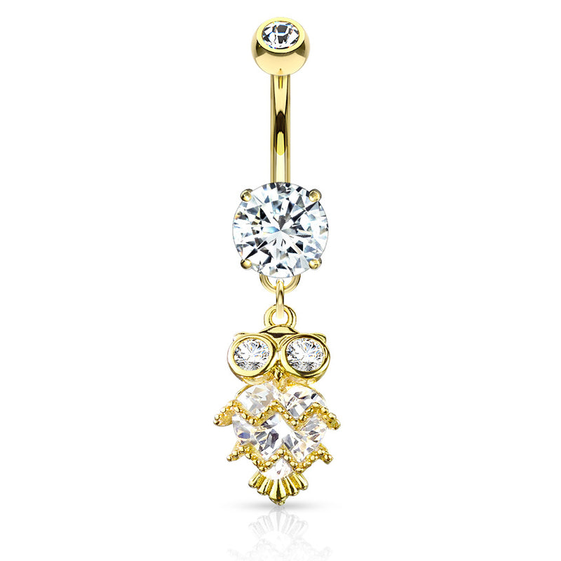 Glittering Midnight Owl Belly Bar in Gold - Dangling Belly Ring. Navel Rings Australia.