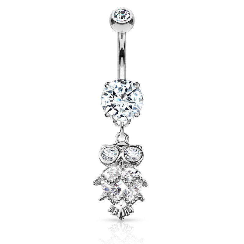 Glittering Midnight Owl Belly Bar - Dangling Belly Ring. Navel Rings Australia.