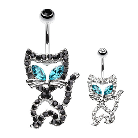Purrfect Kitty Belly Bar - Fixed (non-dangle) Belly Bar. Navel Rings Australia.