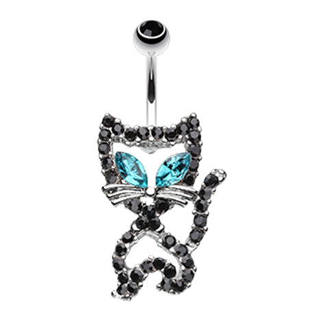 Fixed (non-dangle) Belly Bar. Navel Rings Australia. Purrfect Kitty Belly Bar