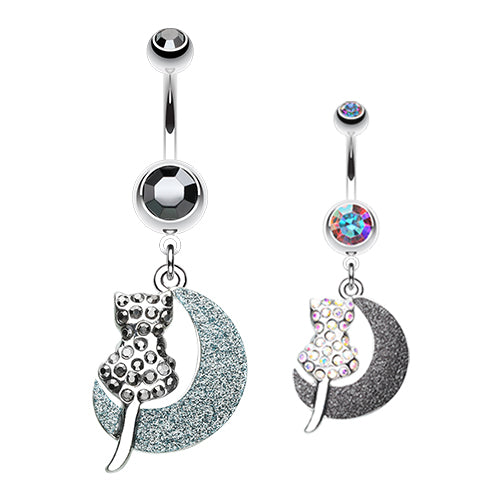 Moonlight Kitty Belly Ring - Dangling Belly Ring. Navel Rings Australia.