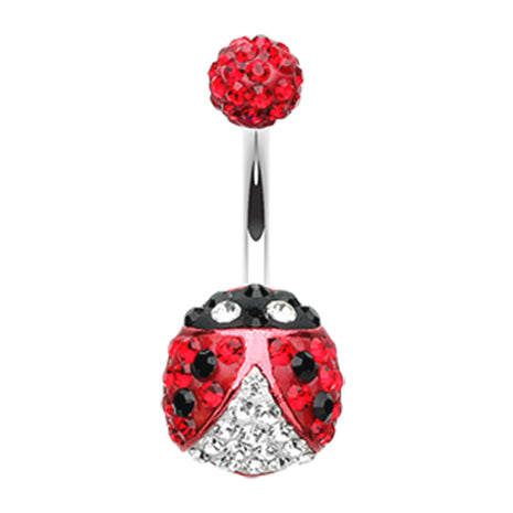 Basic Curved Barbell. Quality Belly Rings. Motleys™ Lady Bug Belly Bar