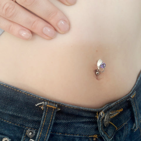 Reverse Classic Swirl Belly Piercing - Reverse Top Down Belly Ring. Navel Rings Australia.