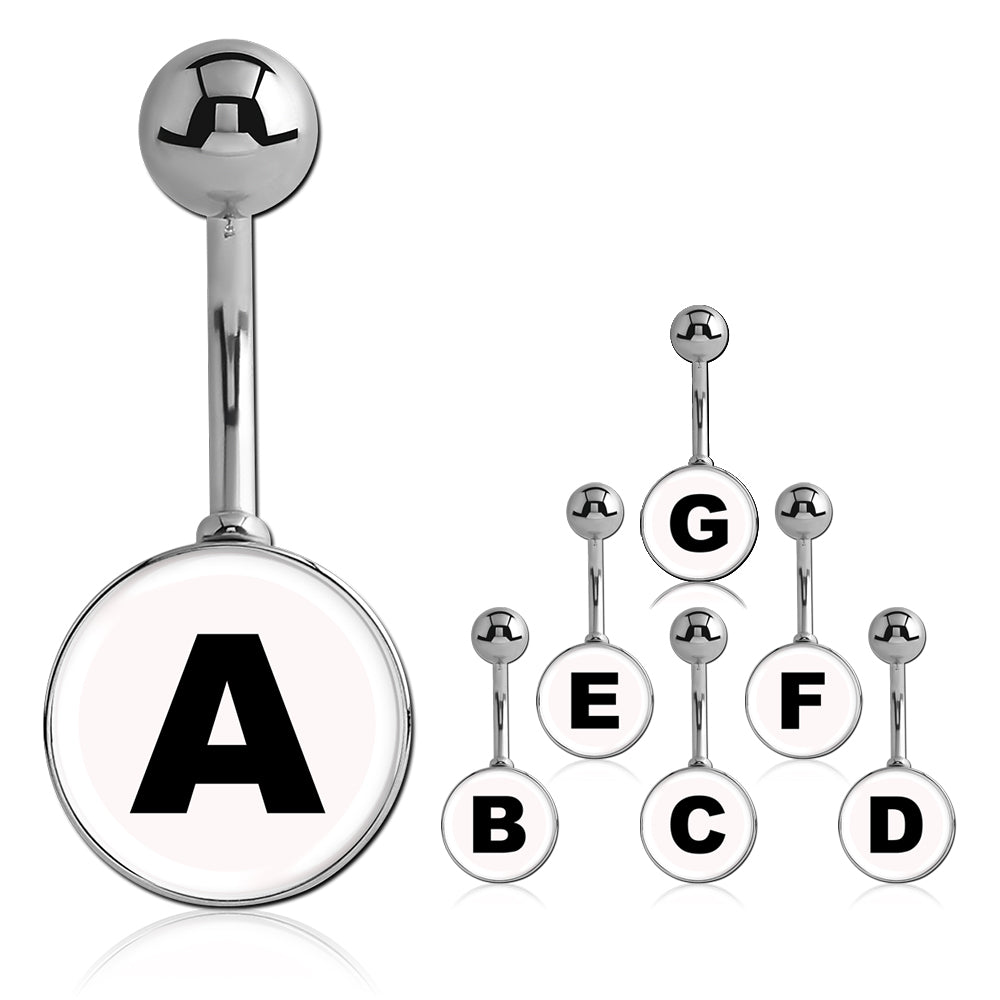 Printed Alphabet Letter Initial Belly Bars - Basic Curved Barbell. Navel Rings Australia.