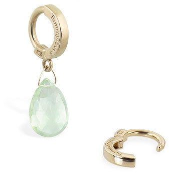 TummyToys® Patented Clasp. Belly Rings Australia. TummyToys® 14K Yellow Gold Green Quartz Belly Piercing Ring