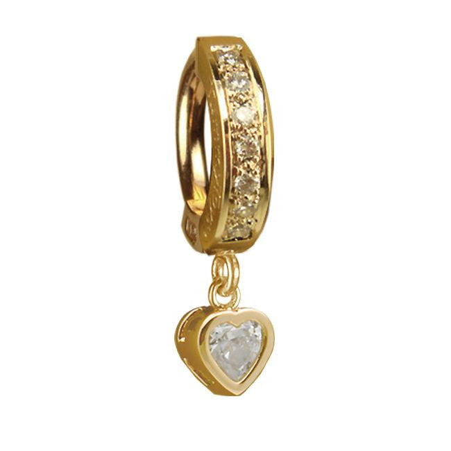 TummyToys® Yellow Gold Cubic Zirconia Heart with DIAMOND Pave Clasp - TummyToys® Patented Clasp. Navel Rings Australia.