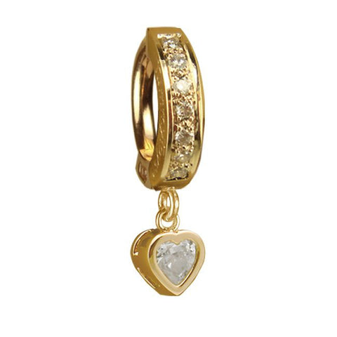 TummyToys® Patented Clasp. Navel Rings Australia. TummyToys® Yellow Gold Cubic Zirconia Heart with DIAMOND Pave Clasp