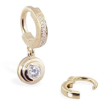 TummyToys® Patented Clasp. Cute Belly Rings. TummyToys® Yellow Gold with 1/4 Ct Diamond Pendant