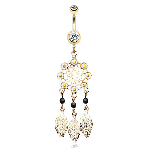 Gold Daisy Dreams Navel Ring - Dangling Belly Ring. Navel Rings Australia.