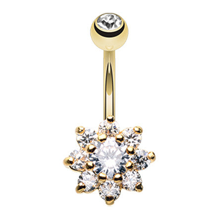 Golden Jala Crystal Flower Belly Ring - Fixed (non-dangle) Belly Bar. Navel Rings Australia.