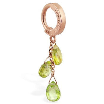 TummyToys® 14K Rose Gold Peridot Belly Bar - TummyToys® Patented Clasp. Navel Rings Australia.