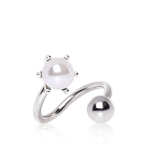 Classic Pearl Spiral Twister Belly Ring - Spiral Twister Twistie. Navel Rings Australia.