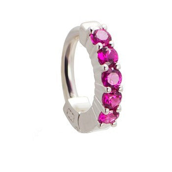 TummyToys® Solid 925 Silver Huggy with Pink Diamante - TummyToys® Patented Clasp. Navel Rings Australia.