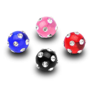 Replacement Ball. Belly Bars Australia. 6mm Acrylic Gem Paved Replacement Balls