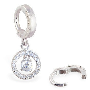 TummyToys® Patented Clasp. Navel Rings Australia. TummyToys® Silver Bullseye CZ Drop