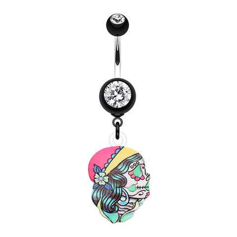 Dangling Belly Ring. Quality Belly Rings. Dia De Los Muertos Belly Ring