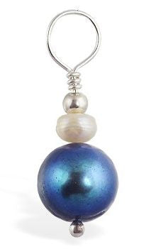 TummyToys® Blue Fresh Water Pearl Swinger - TummyToys® Swinger Charm. Navel Rings Australia.