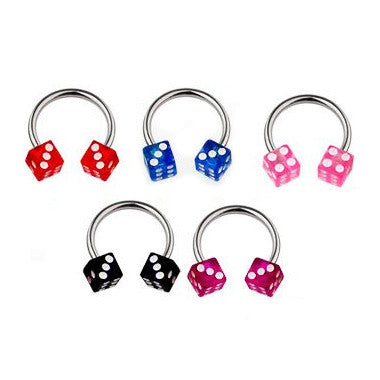 Circular Barbell / Horse Shoe. Navel Rings Australia. Acrylic Dice Horseshoe Navel Bar