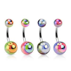 Metallic Eyeball Acrylic Navel Rings - Basic Curved Barbell. Navel Rings Australia.