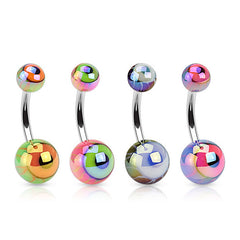 Metallic Eyeball Acrylic Navel Rings