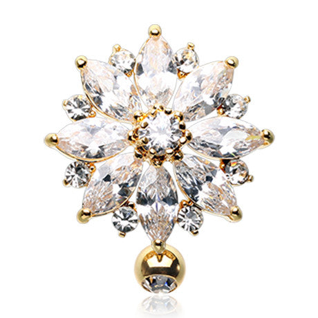 Golden Top Flower Navel Bar - Reverse Top Down Belly Ring. Navel Rings Australia.