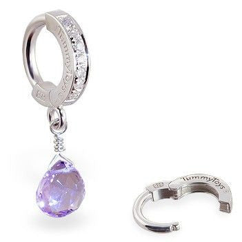 TummyToys® Patented Clasp. Quality Belly Rings. TummyToys® Lavender Amethyst CZ Clasp