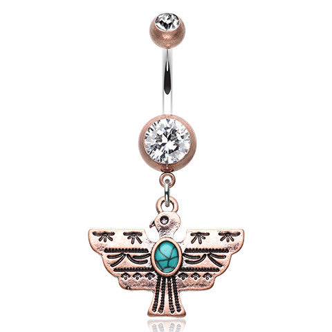 Dangling Belly Ring. Belly Bars Australia. Aztec Thunderbird Belly Piercing