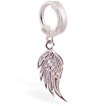 TummyToys® Silver Femme Metale's Angel Wing Belly Piercing Ring - TummyToys® Patented Clasp. Navel Rings Australia.